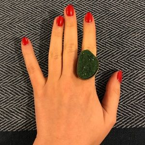 Topshop Green Gemstone and Gold Cocktail Ring sz 7